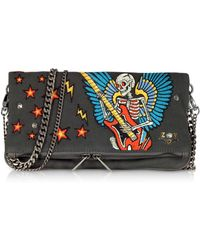 Zadig & Voltaire - Broderie Elephant Gray Canvas Foldable Clutch - Lyst