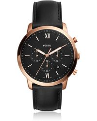 Fossil - Neutra Chronograph Black Leather And Rose Gold Men's Watch - Lyst