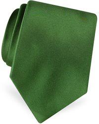 FORZIERI Solid Pure Silk Satin Silk Tie - Green