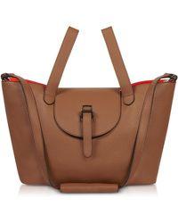 meli melo Tan & Neon Orange Thela Medium Tote Bag