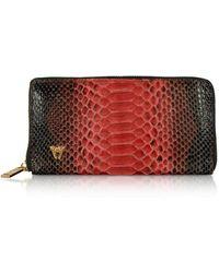 Ghibli Python Leather Zip Around Continental Wallet - Rojo
