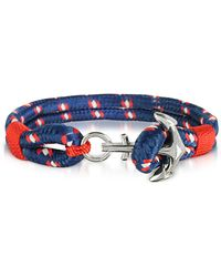 FORZIERI Blue and Red Men's Rope Bracelet - Blau