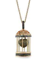Azhar Gabbietta Silver And Zircon Cage Pendant Necklace - Metallic