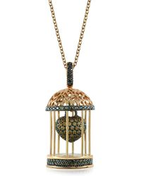 Azhar - Gabbietta Silver And Zircon Cage Pendant Necklace - Lyst