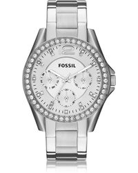 Fossil - Riley Multifunction Silver Stainless Steel Women's Watch - Lyst
