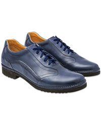 Pakerson Italienische Schnürschuhe von Hand gearbeitet aus Leder in blau