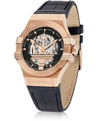 "Maserati Reloj ""Potenza"" para Hombre de Acero Color Oro Rosa con con Correa de Cuero Negro"