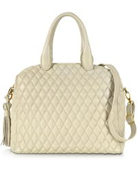 Fontanelli - Ivory Quilted Leather Satchel - Lyst