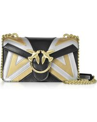Pinko Mini Love Chevron Intarsio Metallic Leather Shoulder Bag - Black