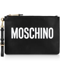 Moschino Black Leather Signature Flat Clutch