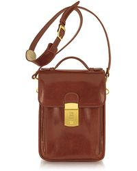 L.A.P.A. Cognac Leather Vertical Briefcase - Brown