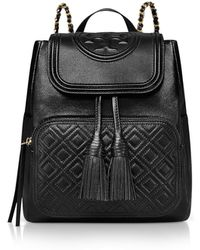 Tory Burch Black Quilted Leather Fleming Backpack - Noir