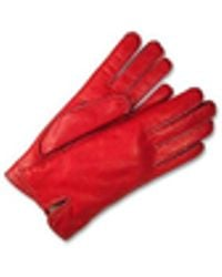 FORZIERI Women's Stitched Silk Lined Red Italian Leather Gloves
