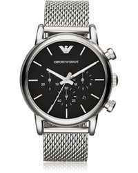 Emporio Armani Stainless Steel Black Dial Men's Watch W/mesh Band - Metallic