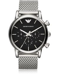 Emporio Armani - Stainless Steel Black Dial Men's Watch W/mesh Band - Lyst