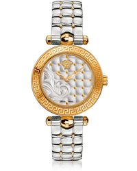 Versace Micro Vanitas Stainless Steel and PVD Gold Plated Women's Watch w/Baroque Pattern Dial - Mettallic