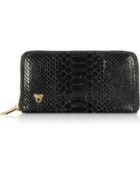e5dcd1d763ef Ghibli - Glossy Black Python Leather Continental Wallet - Lyst