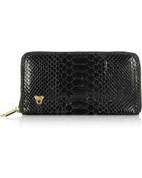 Ghibli - Glossy Black Python Leather Continental Wallet - Lyst