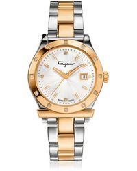 Ferragamo - Ferragamo 1898 Stainless Steel And Gold Ip Women's Bracelet Watch W/diamonds - Lyst