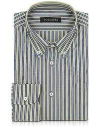 FORZIERI - Blue And Yellow Striped Cotton Slim Fit Men's Shirt - Lyst