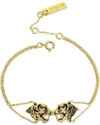 KENZO - Gold Plated Tassel Tiger Bracelet - Lyst