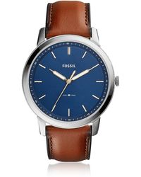 Fossil The Minimalist Slim Three-Hand Light Brown Leather and Blue Dial Men's Watch - Mettallic