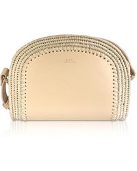 A.P.C. Woven Straw & Natural Beige Leather Mini Demi-Lune Crossbody Bag - Neutro