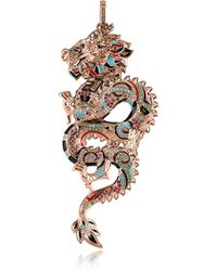 Thomas Sabo 18k Rose Gold Plated Sterling Silver Dragon Pendant w/Glass-ceramic Stones - Pink