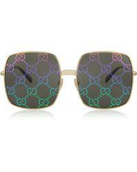 Gucci GG0414S 003 Occhiali da Sole in Metallo con Lente Stampa GG Arcobaleno - Metallizzato