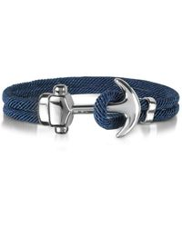 FORZIERI Nautical Rope Double Bracelet w/Anchor - Blau