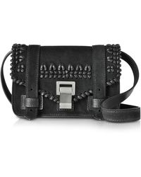 Proenza Schouler Ps1+ Black Suede Mini Crossbody Bag W/crochet