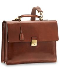 The Bridge Genuine Leather Top-handle Men's Briefcase W/zip Pockets - Brown