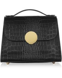 Le Parmentier - Bombo Croco Embossed Leather Top-handle Satchel Bag W/strap - Lyst