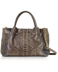 Ghibli Gray Python Leather Satchel Bag