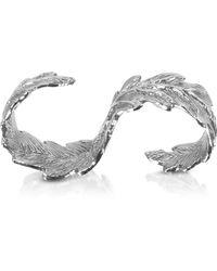 Bernard Delettrez Two Fingers Silver Leafy Ring - Mettallic