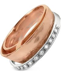 Torrini - Tama - Diamond Channel 18k Rose Gold Band Ring - Lyst