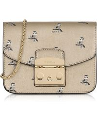 Furla - Toni Gold Mini Owl Printed Saffiano Leather Metropolis Mini Crossbody Bag - Lyst