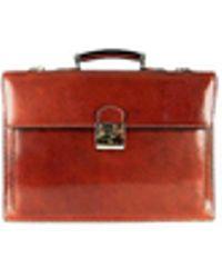 L.A.P.A. Klassische Aktentasche aus cognacfarbenem Leder - Mehrfarbig