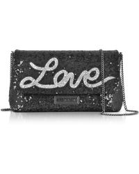 Love Moschino - Love Sequins Metallic Black Clutch W/chain Strap - Lyst