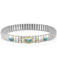 Nomination Stainless Steel Women's Bracelet W/light Blue Topaz Oval Beads - Metallic