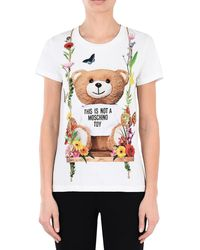 Moschino Teddy Bear Print White Cotton Women's T-Shirt - Blanco