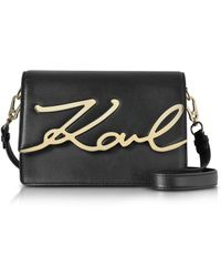 Karl Lagerfeld Black Leather K/signature Shoulder Bag