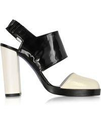 Jil Sander - Black And Cream High Heel Slingback - Lyst