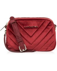 Lancaster Quilted Velvet Couture Mini Camera/Belt Bag - Rojo