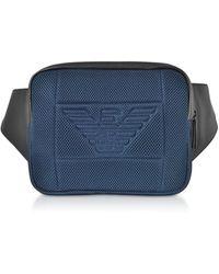 Emporio Armani Waist Bag w/ Maxi Logo - Azul