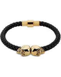 Northskull - Black Nappa Leather And 18 Kt. Gold Twin Skull Men's Bracelet - Lyst