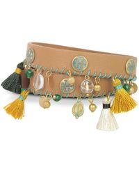 Tory Burch Aged Vachetta Leather and Vintage Gold Brass Tassel Double Wrap Bracelet - Braun