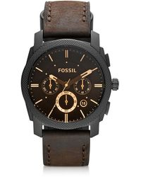 Fossil Machine Mid-Size Chronograph Brown Leather Men's Watch - Braun