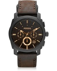 Fossil - Machine Mid-size Chronograph Brown Leather Men's Watch - Lyst