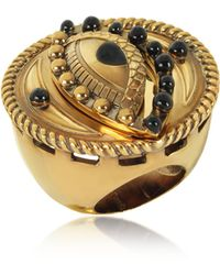 Roberto Cavalli - Antique Goldtone Metal And Black Enamel Lucky Eye Symbol Ring - Lyst